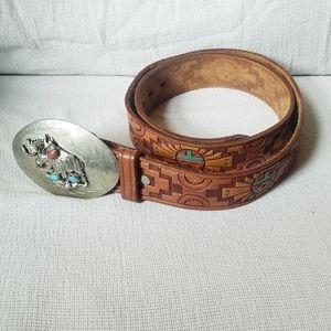 Hand tooled hand painted western belt